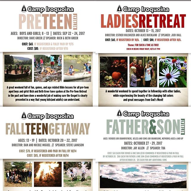 Just when you thought the summer was over and it was safe to not think about camp for a while...BAAAMMM! We have some Fall Retreat Fliers for you! Take a look, and the Retreats page link is in the bio so you can find out more information and register.