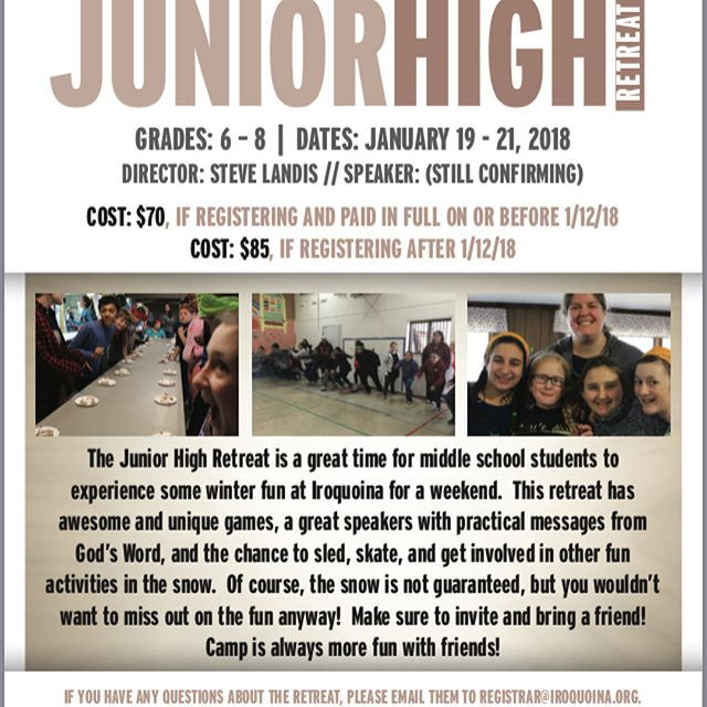 JR. HIGH RETREAT STARTS TONIGHT! Please join us in praying for all those coming up, our speaker, the staff, and for an amazing weekend of fun, and where God is known in all the hearts and minds of those in attendance! #campiroquoina #jrhighretreat2018 #winterretreats